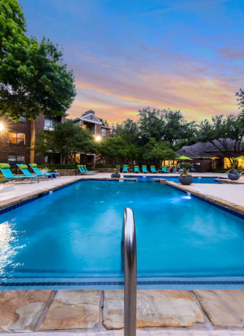 Pool at sunset at Marquis at Legacy in Plano, Texas