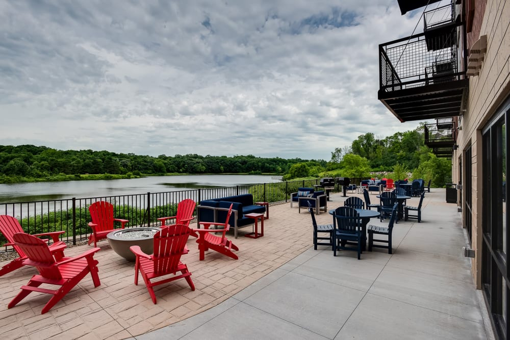The clubhouse deck with a view of the river at Lake Jonathan Flats in Chaska, Minnesota