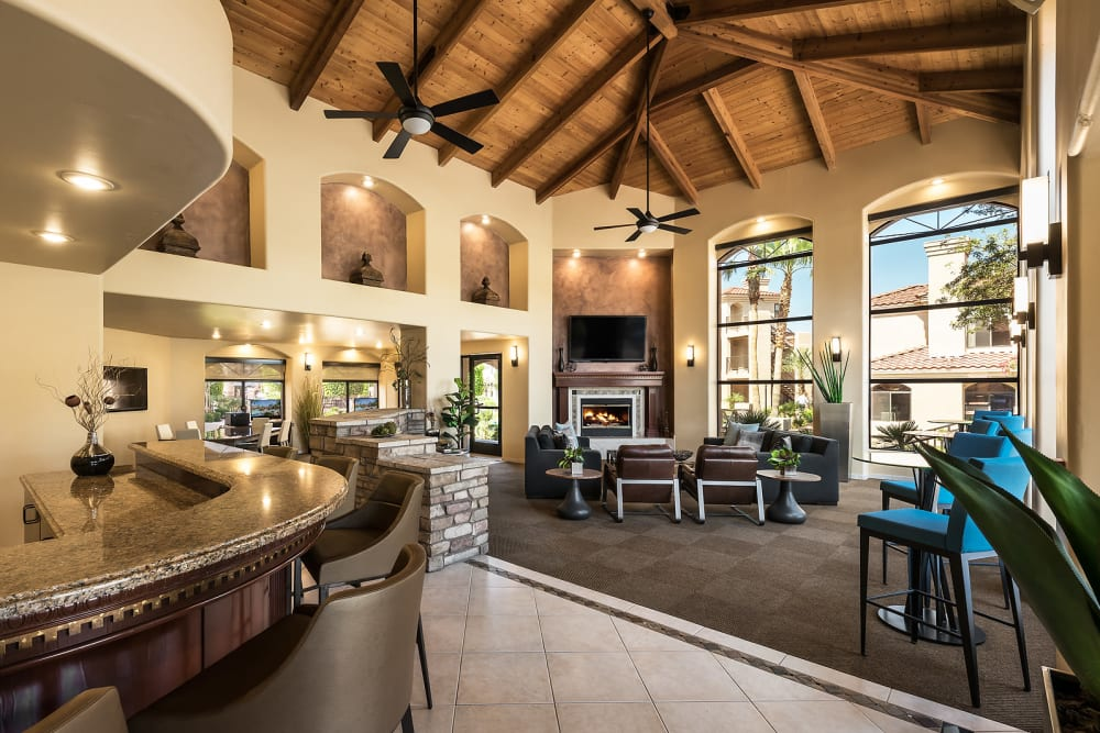 Contemporary decor in resident clubhouse at San Lagos in Glendale, Arizona