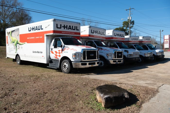 Moving trucks available at  Space Shop Self Storage in Covington, GA