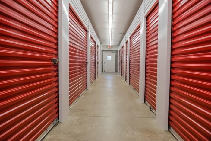 Indoor storage units at  Space Shop Self Storage in Covington, GA