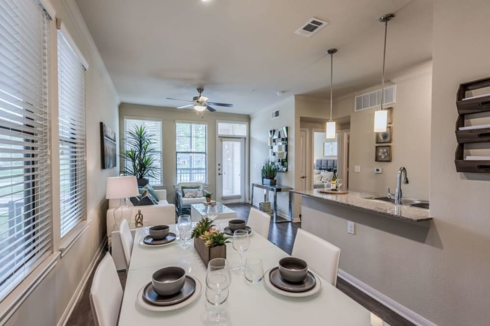 Model apartment home with an open floorplan at Heights West 11th in Houston, Texas