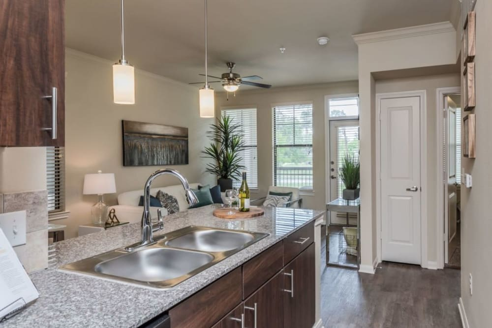 Model kitchen with double stainless steel sink at Heights West 11th in Houston, Texas