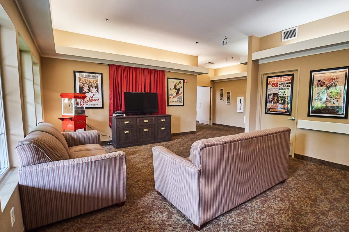 A comfortable theater for residents at Farmington Square Salem in Salem, Oregon