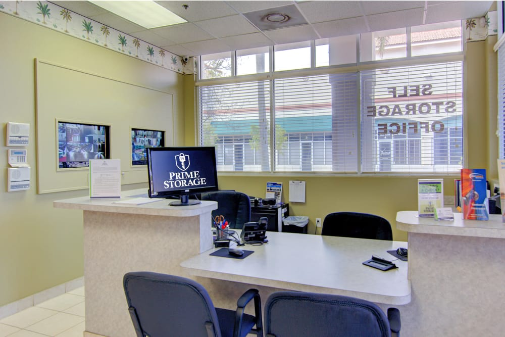 Front desk at Prime Storage in West Palm Beach, Florida
