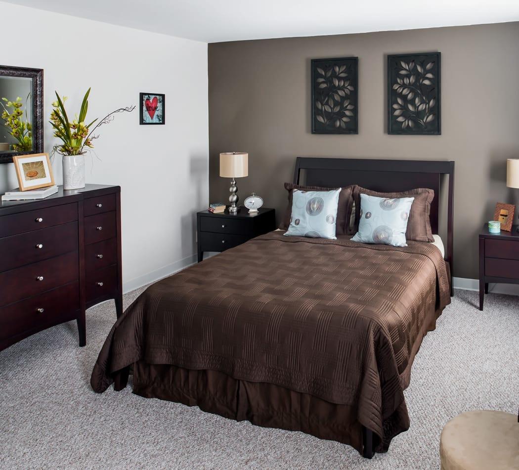 Lovely model bedroom at Stony Brook Commons in Roslindale, Massachusetts