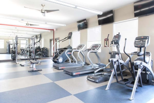 An onsite gym at The Reserve on 66th, a community of Haverkamp Properties in Ames, Iowa