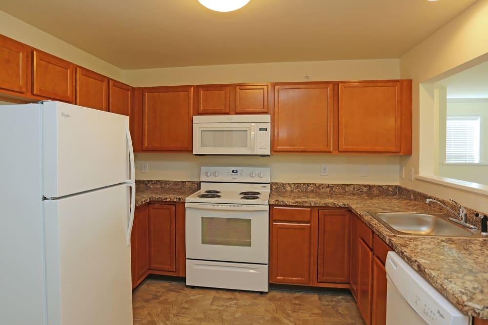 Sleek, bright kitchen at The Ridge in Troy, New York
