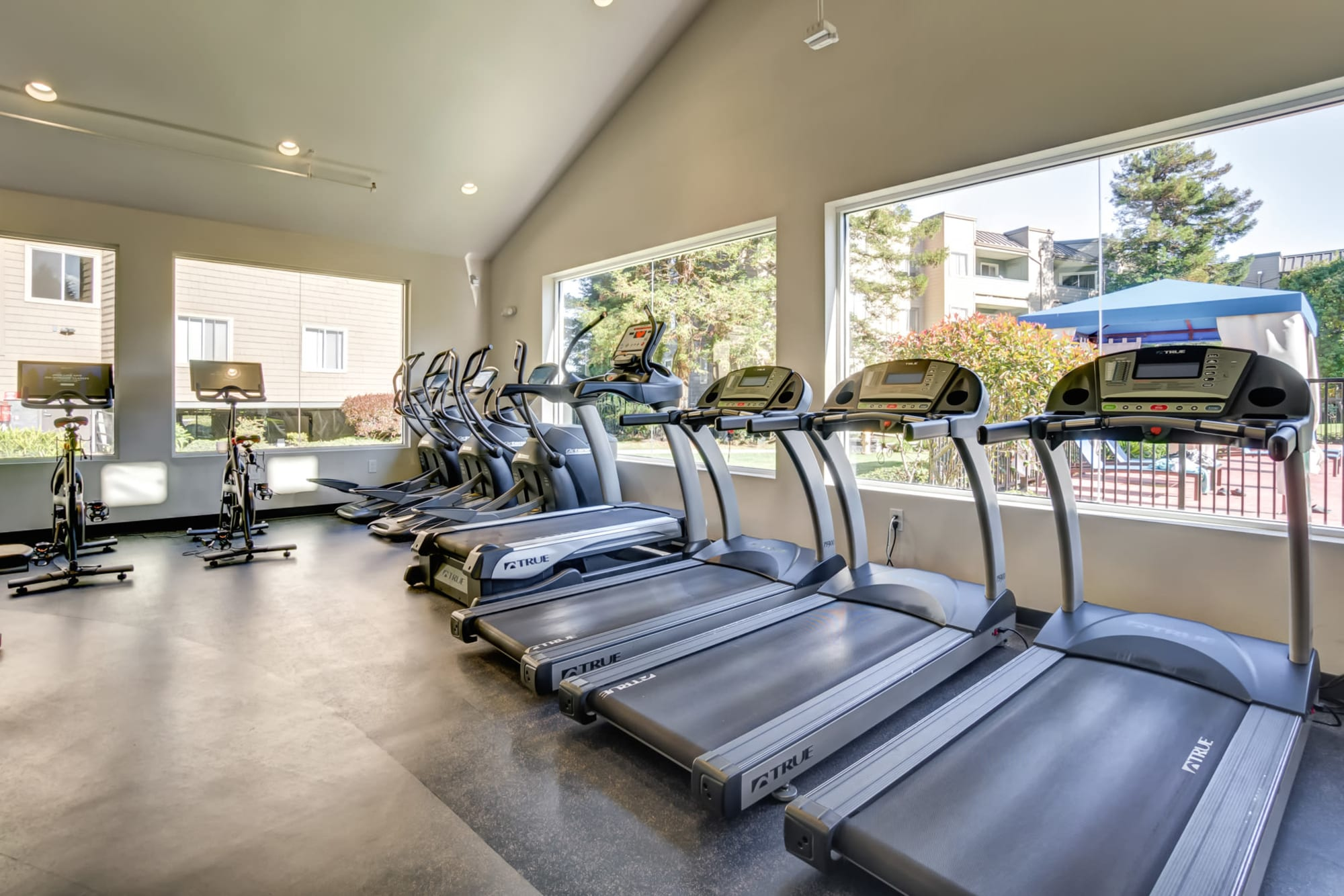 Fitness Center with cardio machines. large windows looking out to pool at Serramonte Ridge Apartment Homes