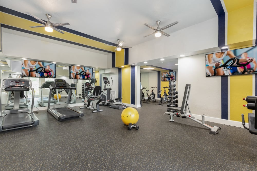 Full state of the art fitness area for residents at Beach Walk at Sheridan in Dania Beach, Florida