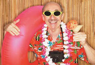 Senior living resident dressed for a beach party in South Carolina