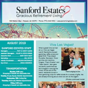 August Sanford Estates Gracious Retirement Living newsletter