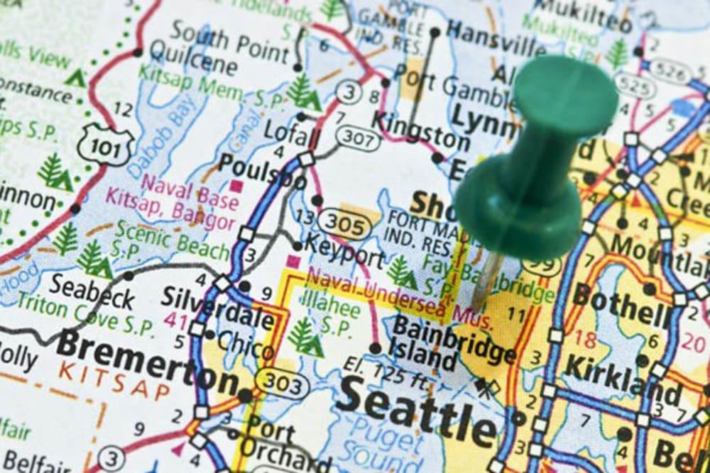 A map where Merrill Gardens at Kirkland is in Kirkland, Washington.