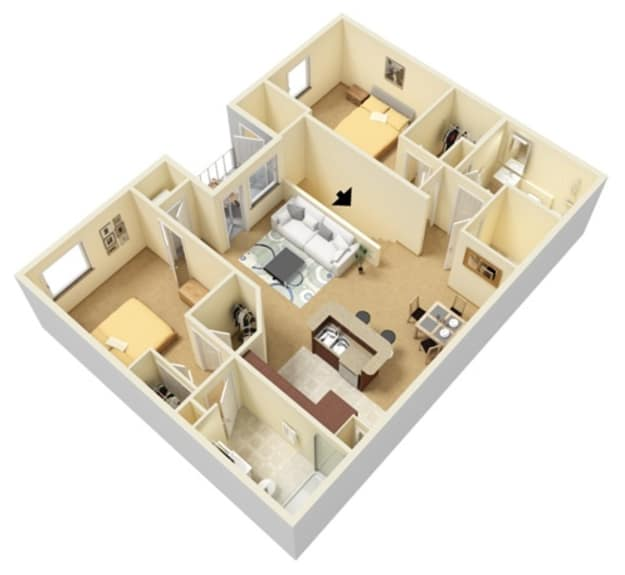 Two bedroom floor plan at Huntsville Parc Apartment Homes in Huntsville, Alabama