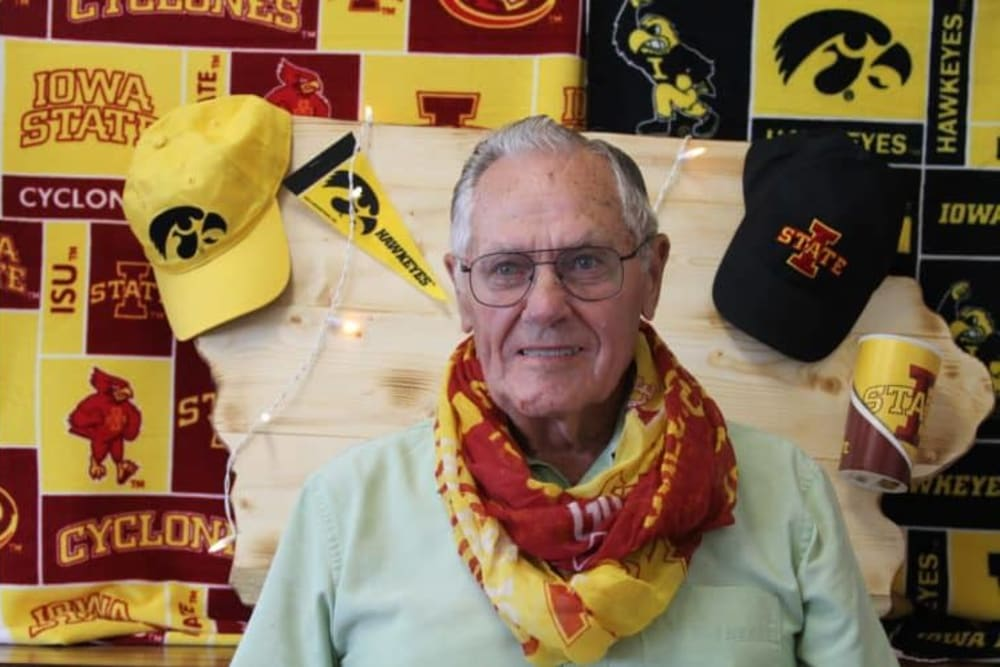 Resident showing support for Iowa collegiate athletics at Manning Senior Living in Manning, Iowa.