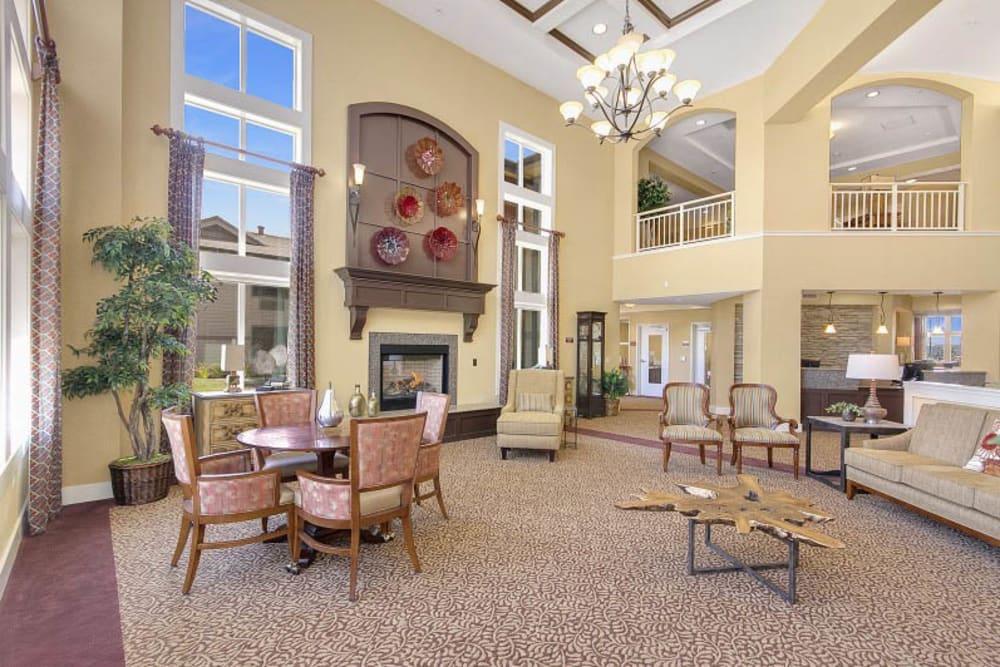 Spacious lobby at The Pines, A Merrill Gardens Community in Rocklin, California.