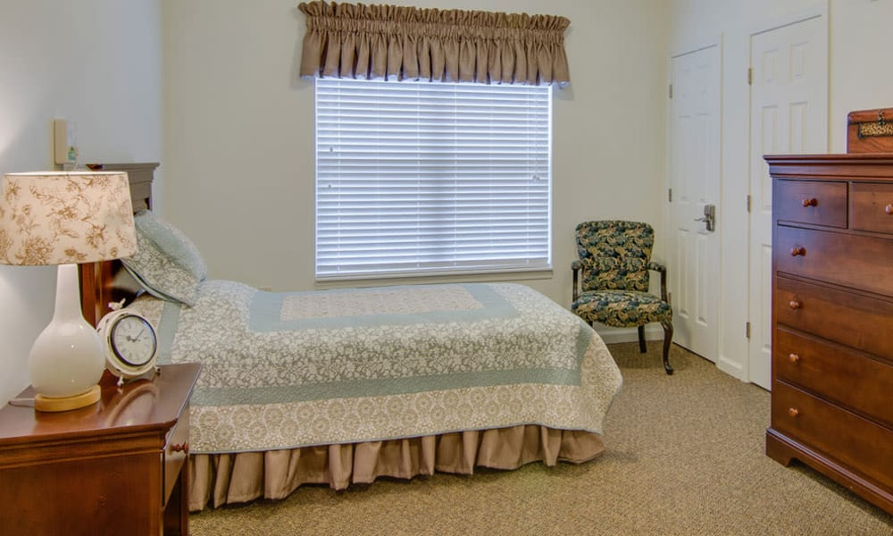 Model Bedroom at Waldron Place Senior Living in Hutchinson, Kansas