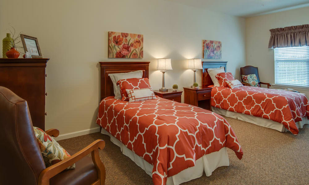 Two person bedroom at Adams Pointe Senior Living in Quincy, Illinois