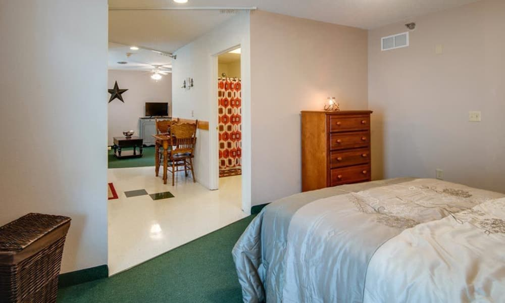 Large bedroom for assisted living residents at Victorian Place of Hermann in Hermann, Missouri