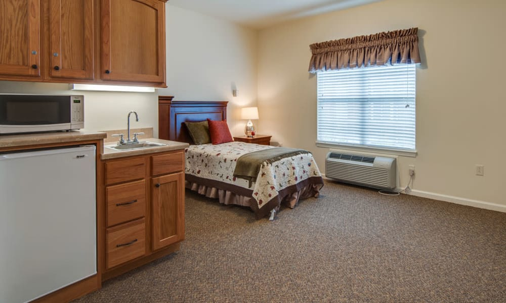 Cozy floor plan for assisted living residents at Maplebrook Senior Living in Farmington, Missouri