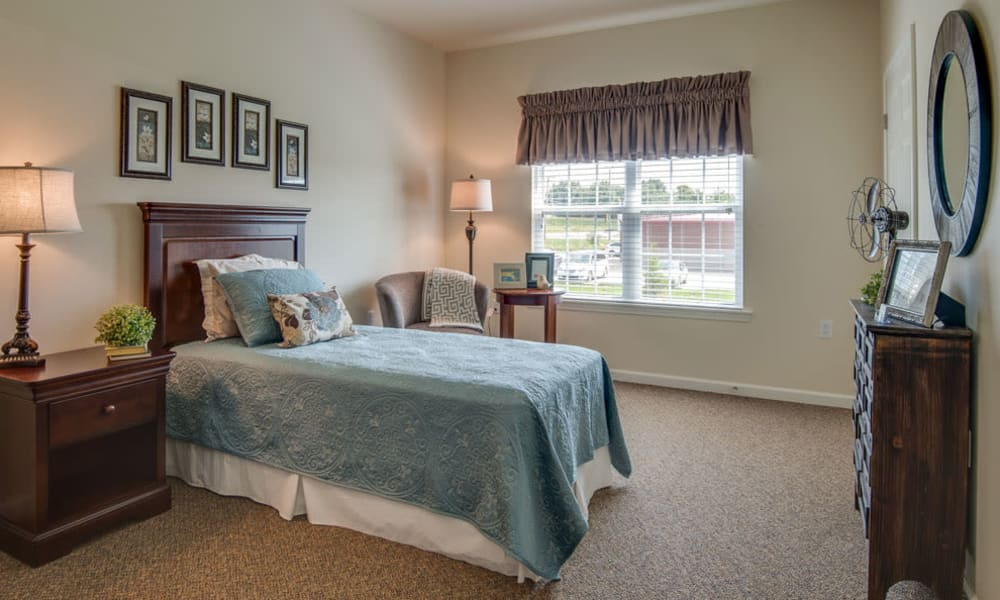 Bedroom at our Centennial Pointe Senior Living in Springfield, Illinois
