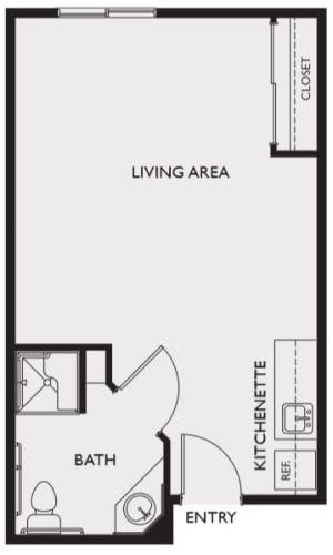 Assisted living studio at Highland Glen in Highland, Utah