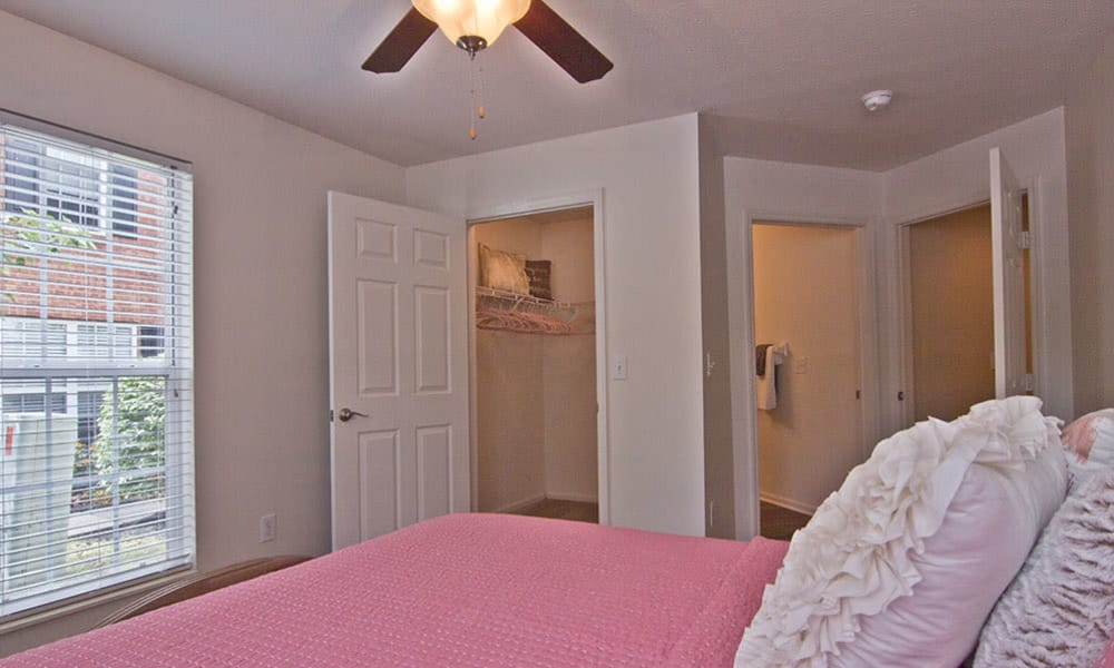 Model bedroom at The Woods at Polaris Parkway in Westerville, OH