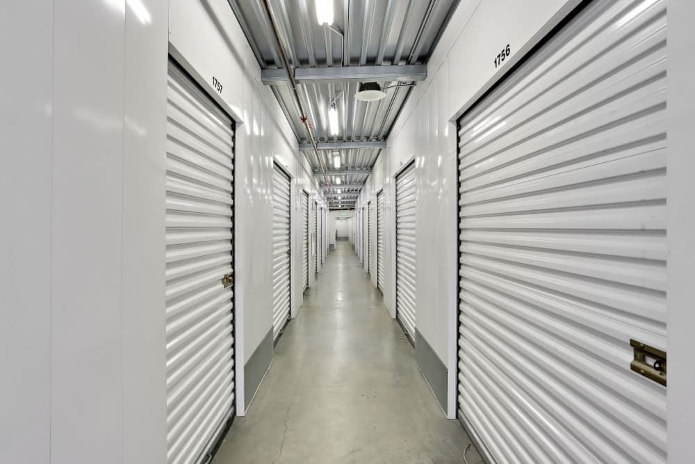 A row of indoor storage units at A-1 Self Storage in San Diego, California