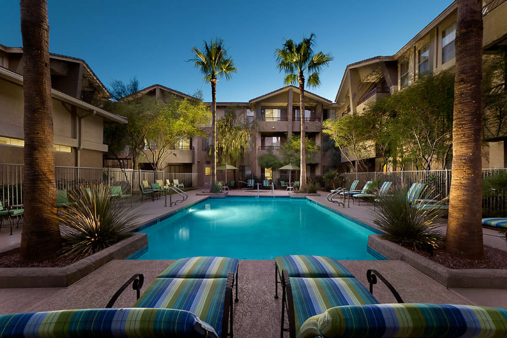 View of our beautiful pool at McDowell Village in Scottsdale, Arizona