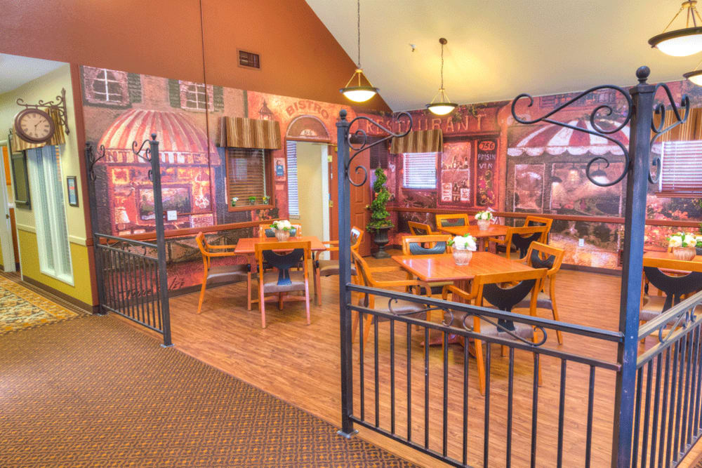 Bistro area for residents of The Meadows - Assisted Living in Elk Grove, California