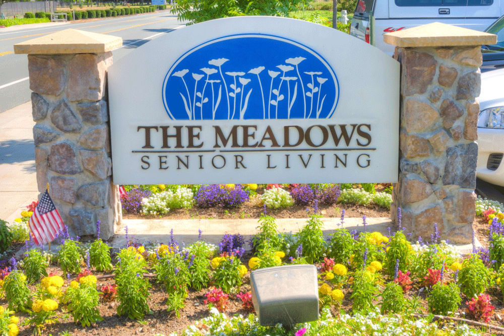 The sign for The Meadows - Assisted Living in Elk Grove, California