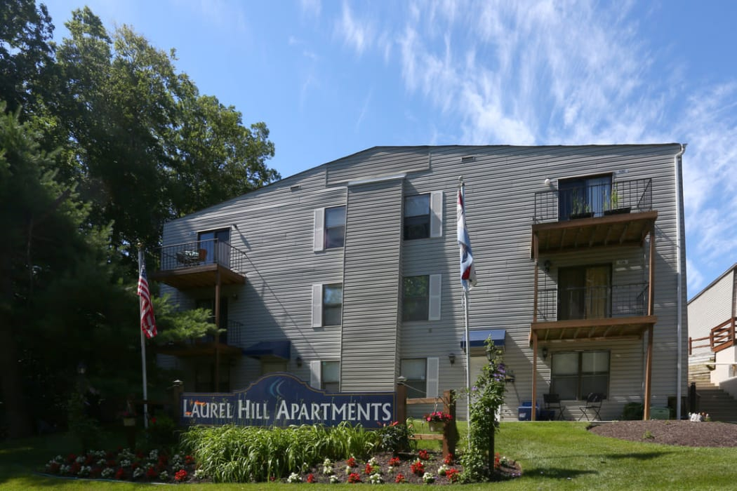 Exterior view of the Laurel Hill Apartments community in Lindenwold, New Jersey