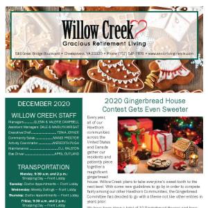 December Willow Creek Gracious Retirement Living newsletter
