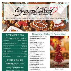 December Edgewood Point Assisted Living Newsletter