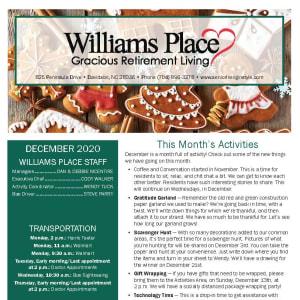 December Williams Place Gracious Retirement Living newsletter