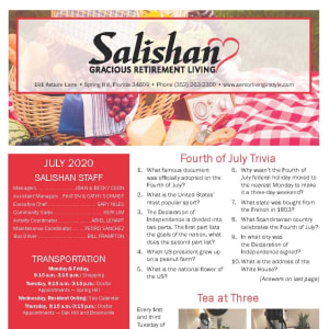 July Salishan Gracious Retirement Living Newsletter