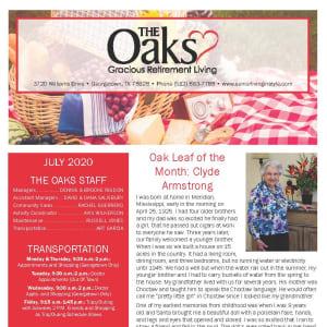 July The Oaks Gracious Retirement Living Newsletter