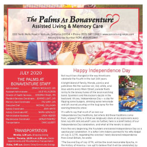 July The Palms at Bonaventure Assisted Living and Memory Care Newsletter