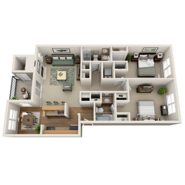 Sequoia Floor Plan at Fountains at Steeplechase Apartments