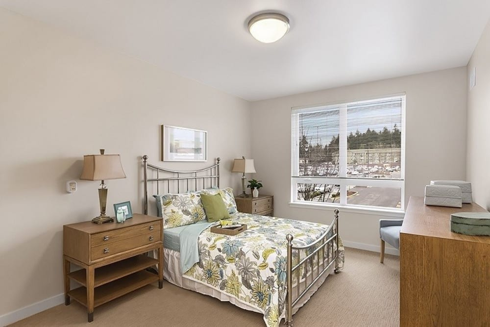 One bedroom apartments at Merrill Gardens at Burien in Burien, Washington.