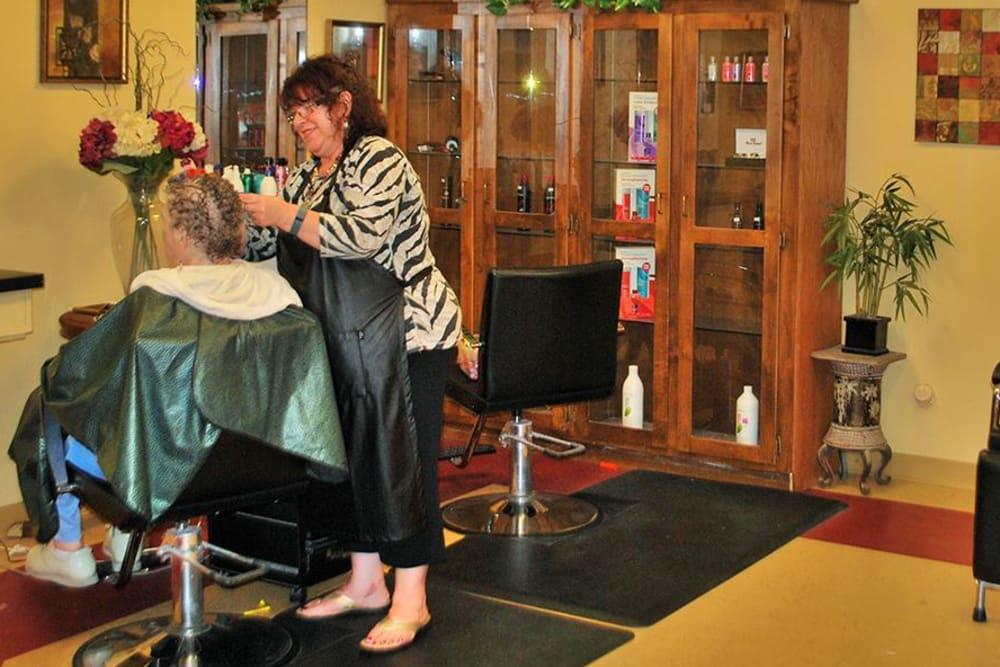Hair salon at Roseville Commons Senior Living in Roseville, California