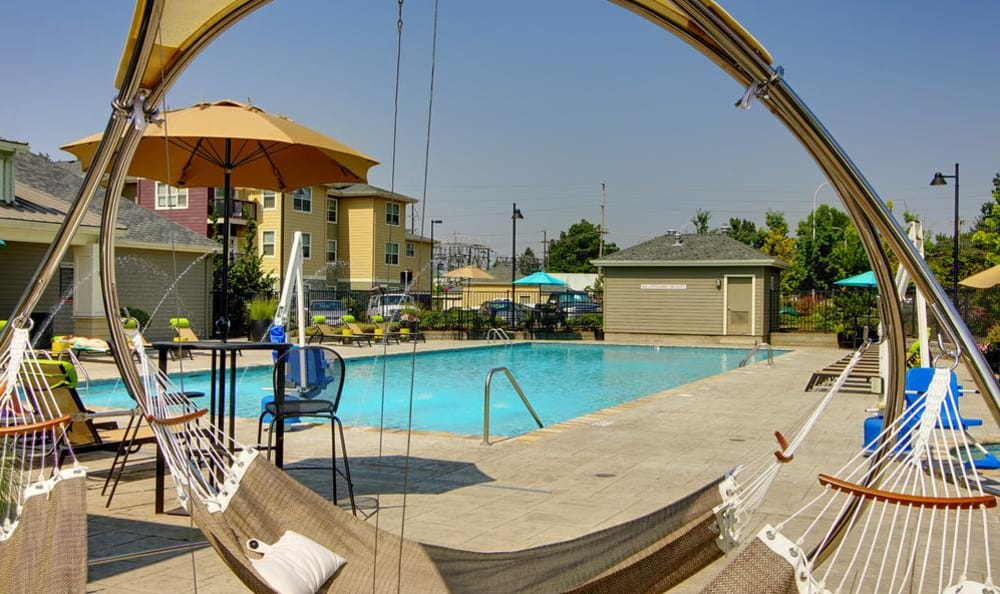 Swimming pool hammock at apartments in Wilsonville, Oregon