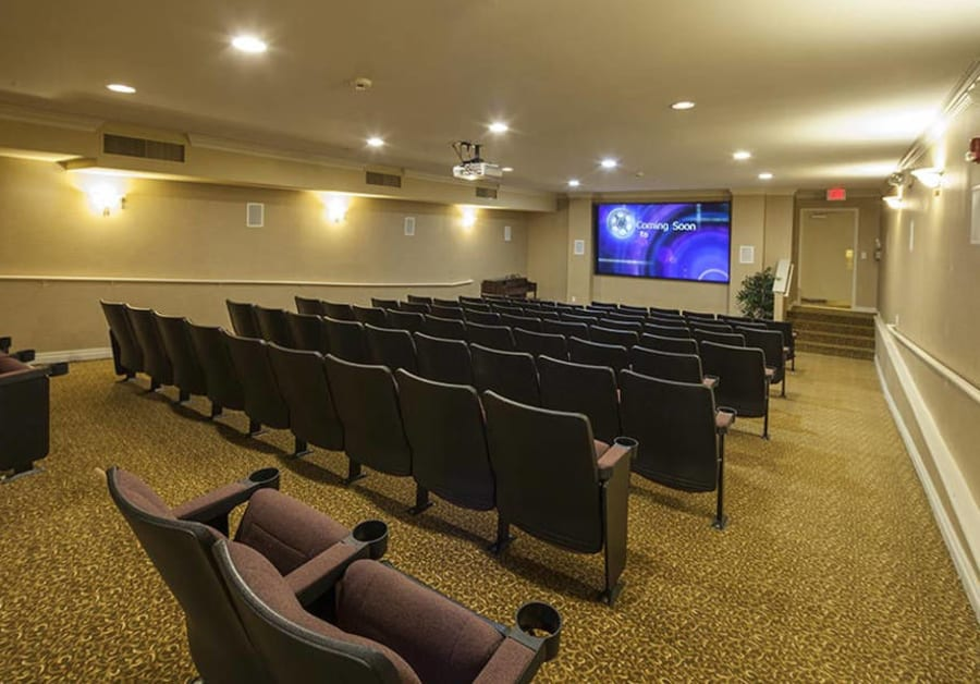 Movie theater at Waltonwood Twelve Oaks