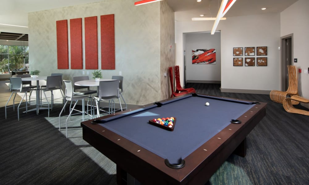Billiards table in the resident clubhouse lounge at Luxor Club in Jacksonville, Florida