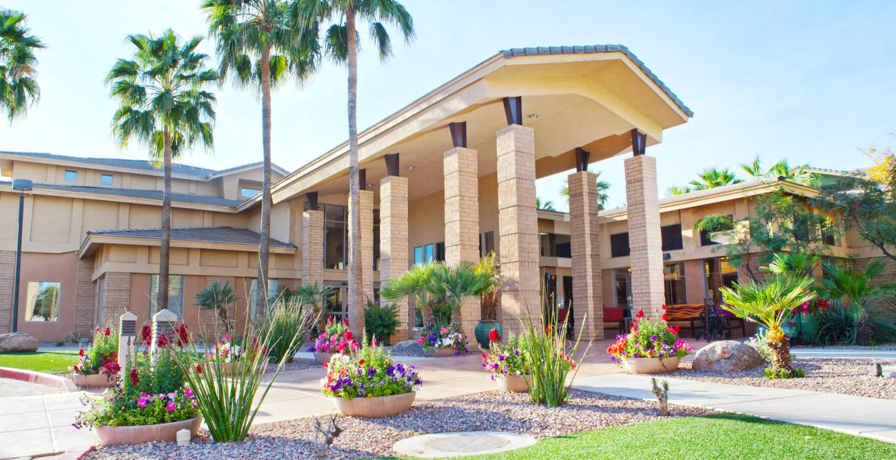 Our senior living community front entrance in Scottsdale, Arizona