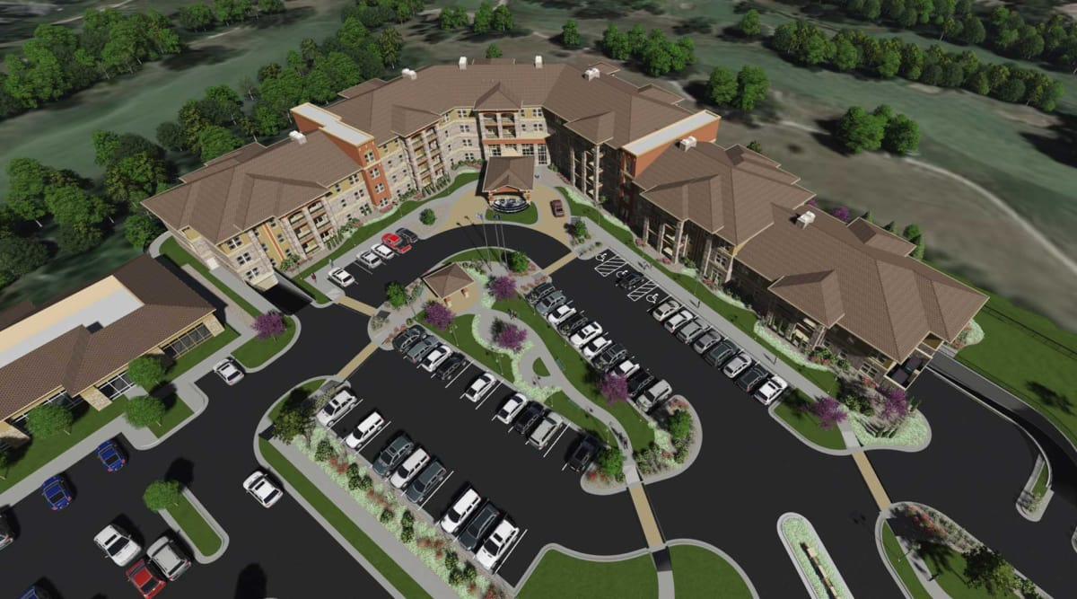Aerial view of our luxury senior living community at The Fairways of Ironhorse in Leawood