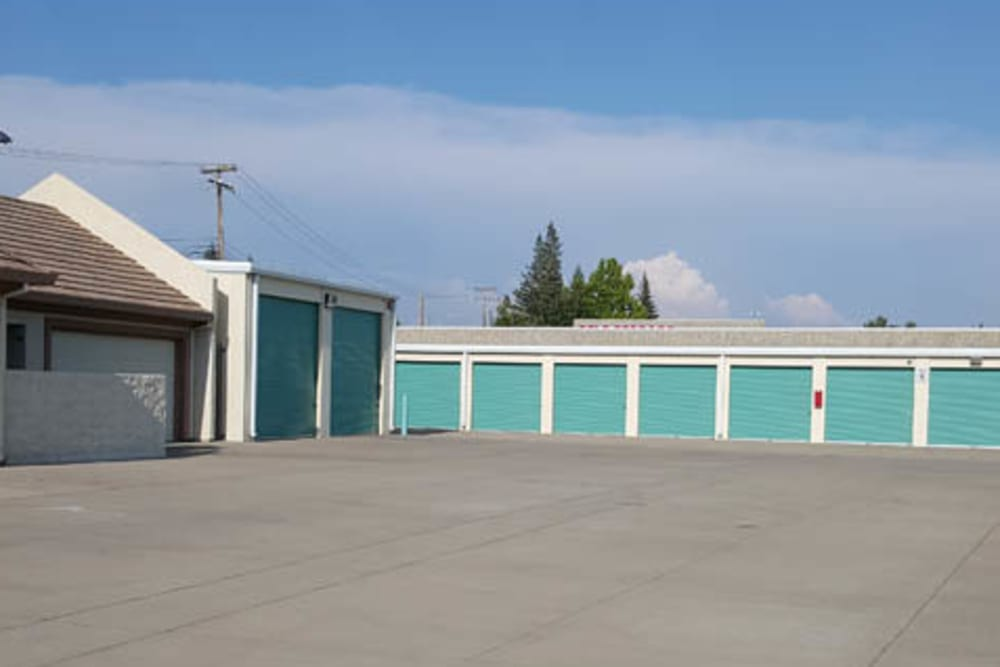 Outdoor storage units at Superior Self Storage in Gold River, California