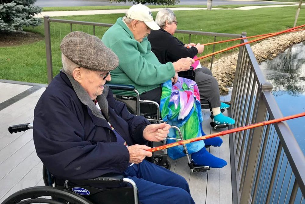 Residents enjoy fishing at Waterford Crossing in Goshen, Indiana