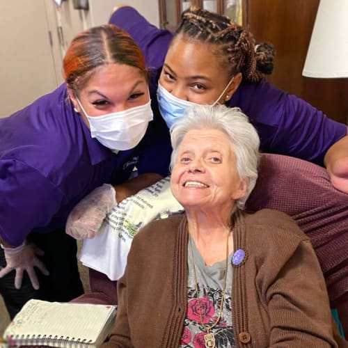 Caregivers and resident at FountainBrook in Midwest City, Oklahoma