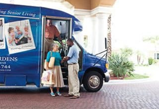 Scheduled transportation for senior living residents in Discovery Commons